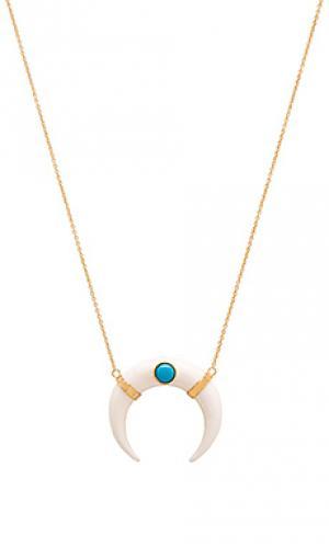 Ожерелье double horn Jacquie Aiche. Цвет: металлический золотой
