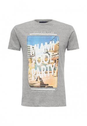 Футболка Piazza Italia. Цвет: серый