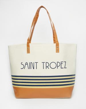 Thursday Friday Холщовая пляжная сумка в полоску St Tropez. Цвет: белый