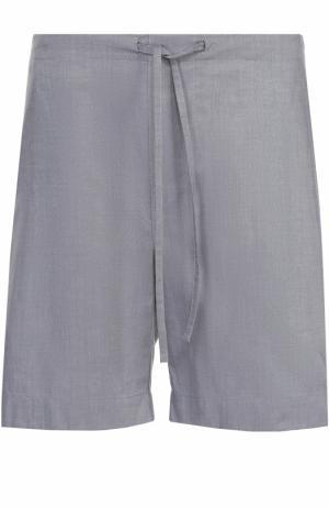 Хлопковые домашние шорты с поясом на резинке Zimmerli. Цвет: серый