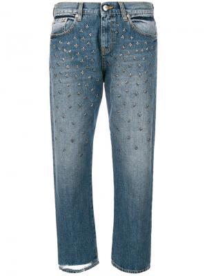 Укороченные джинсы с заклепками Gaelle Bonheur. Цвет: синий