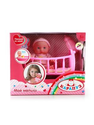 Пупс Карапуз 16см, пластиковые глаза, в кроватке, подушка, одеяло, одежда. Цвет: розовый