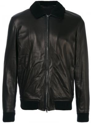 Кожаная куртка с эластичными манжетами Salvatore Santoro. Цвет: чёрный