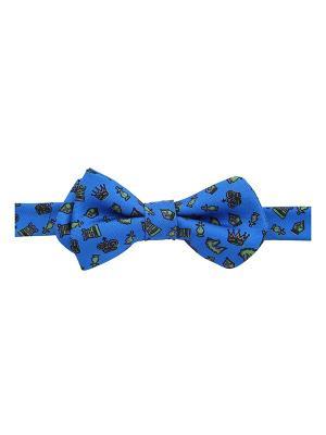 Галстук бабочка Chess Print Cobalt Duchamp. Цвет: синий, антрацитовый, лазурный, оливковый, серо-коричневый, сиреневый