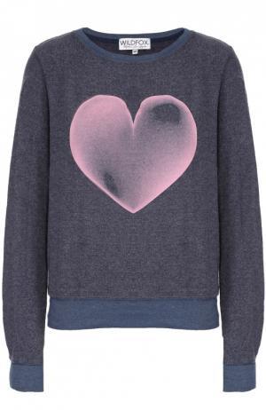 Пуловер свободного кроя с контрастным принтом Wildfox. Цвет: синий