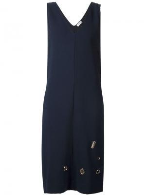 Платье без рукавов с люверсами Nomia. Цвет: синий
