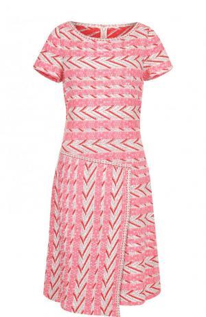 Приталенное платье-миди с круглым вырезом St. John. Цвет: розовый