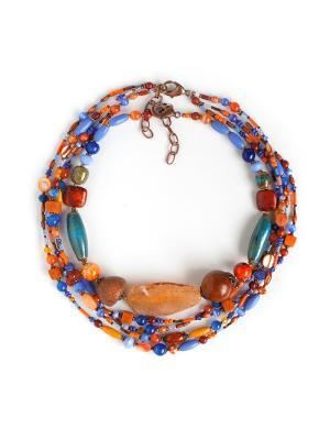 Колье Роман с камнем. Цвет: оранжевый, голубой