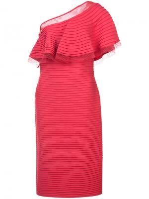 Платье в рубчик на одно плечо Tadashi Shoji. Цвет: красный