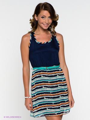 Платье Eunishop. Цвет: синий, бирюзовый, оранжевый