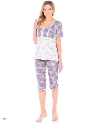 Домашний костюм (бриджи, футболка) HomeLike. Цвет: сиреневый, молочный