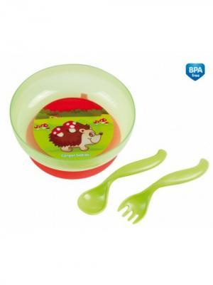 Миска на присоске с крышкой, вилкой и ложкой, 9м+, цвет: зеленый Canpol babies. Цвет: зеленый, коричневый, красный