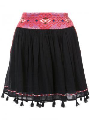 Мини юбка с кисточками на подоле Joie. Цвет: чёрный