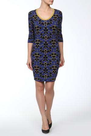 Платье Whos Who Who's. Цвет: синий, черный, охра