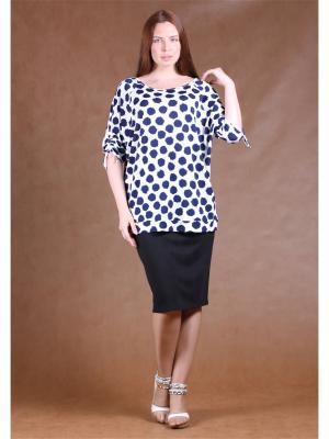 Блузка BERKANA. Цвет: белый, темно-синий