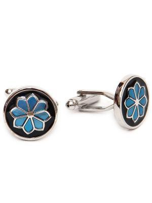 Запонки голубые узоры Churchill accessories. Цвет: серебристый