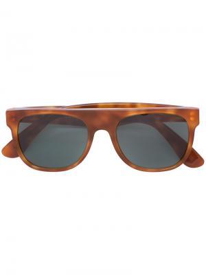 Солнцезащитные очки Flat Top Light Havana Retrosuperfuture. Цвет: коричневый