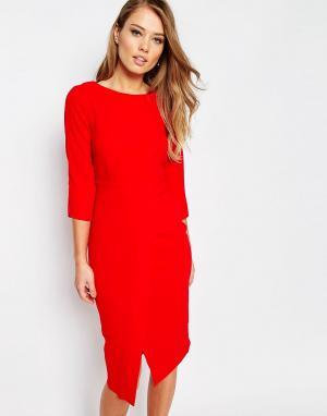 Closet London Платье миди с рукавами 3/4 и запахом спереди. Цвет: красный