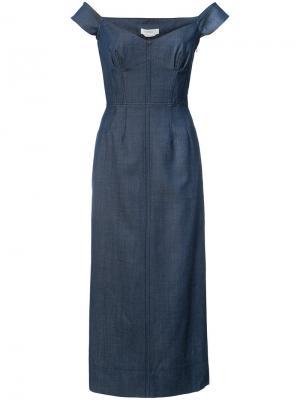 Off-shoulder denim dress Gabriela Hearst. Цвет: синий