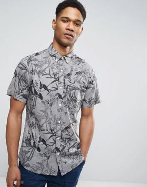 Only & Sons Узкая рубашка с короткими рукавами и принтом. Цвет: серый