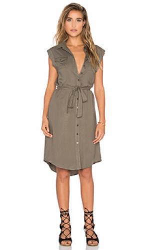 Платье в стиле милитари без рукавов maia Bishop + Young. Цвет: оливковый