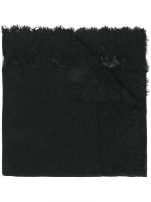Платок с кружевной отделкой Ermanno Scervino. Цвет: чёрный