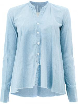 Классическая приталенная блузка Greg Lauren. Цвет: синий