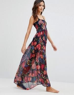 Pia Rossini Пляжное платье макси Perla. Цвет: темно-синий