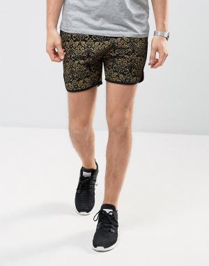 ASOS Трикотажные беговые шорты с принтом в стиле барокко. Цвет: черный
