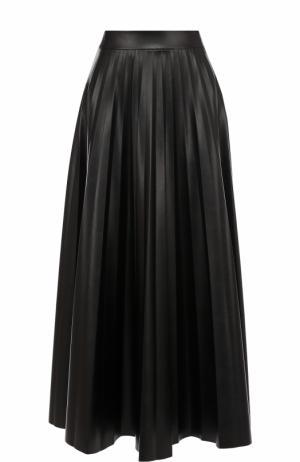 Кожаная плиссированная юбка-миди Inna Honour. Цвет: черный