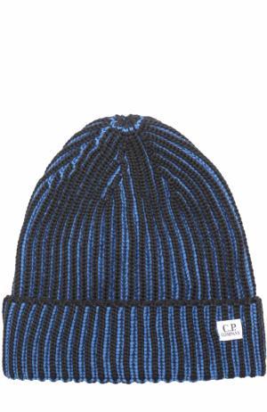 Шерстяная шапка бини C.P. Company. Цвет: темно-синий