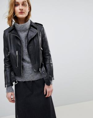AllSaints Кожаная байкерская куртка в винтажном стиле Balfern. Цвет: черный