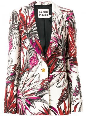 Пиджак с тропическим принтом Fausto Puglisi. Цвет: многоцветный