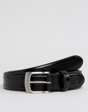 William Hunt Узкий черный кожаный ремень в строгом стиле. Цвет: черный