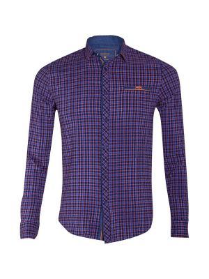 Рубашка Dairos. Цвет: синий, оранжевый