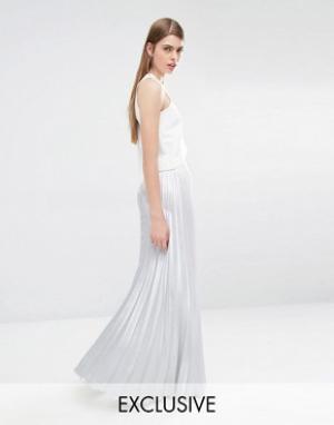 True Violet Плиссированная юбка макси. Цвет: серебряный