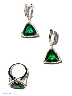 Комплект Lovely Jewelry. Цвет: серебристый, зеленый