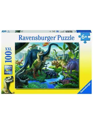 Пазл Динозавры на водопое XXL 100 шт Ravensburger. Цвет: синий