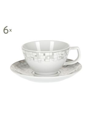 Н-р 6 чайных пар 260мл Бахаус Royal Porcelain. Цвет: молочный