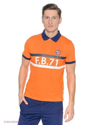 Футболка-поло Fresh. Цвет: оранжевый, темно-синий
