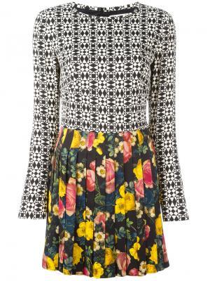 Платье мини с плиссировкой Fausto Puglisi. Цвет: чёрный
