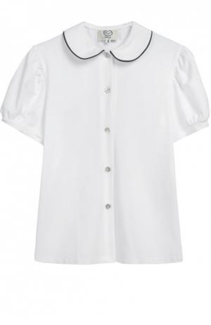 Хлопковая блуза с коротким рукавом Caf. Цвет: белый