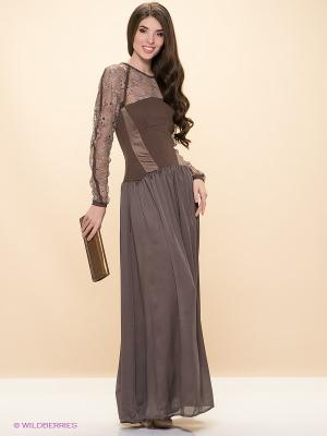 Платье ELENA FEDEL. Цвет: темно-коричневый