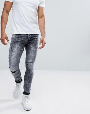 Only & Sons Выбеленные черные джинсы скинни с рваными коленями. Цвет: черный