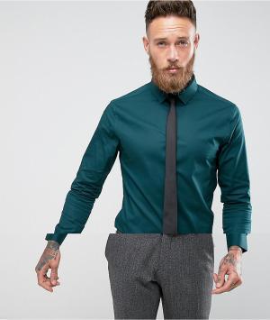 ASOS Синевато-зеленая приталенная рубашка с черным галстуком. Цвет: зеленый