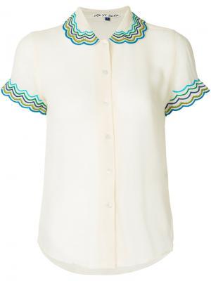 Блузка с фигурной отделкой на воротнике Jupe By Jackie. Цвет: белый