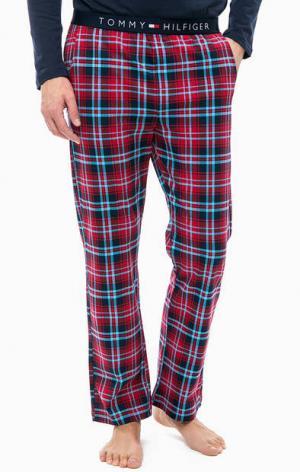 Домашние брюки из хлопка в клетку Tommy Hilfiger. Цвет: красный