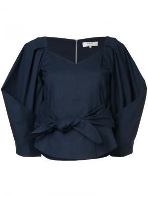 Блузка с объемными рукавами и вырезом сердечком Sea. Цвет: синий