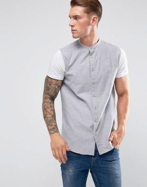 SikSilk Серая обтягивающая рубашка с трикотажными рукавами. Цвет: серый