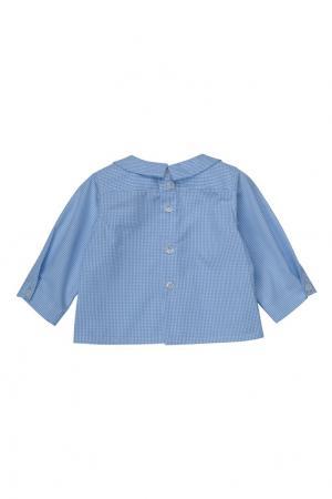 Хлопковая синяя рубашка AQUARELLE Bonpoint. Цвет: синий